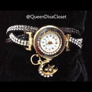 Accessories - Black silver gold crystal moon star charm watch